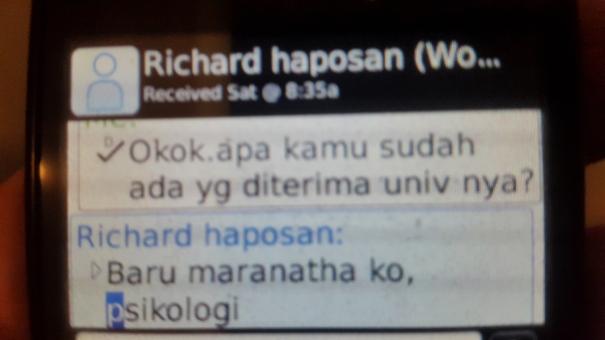 richard lolos tes masuk universitas Maranatha