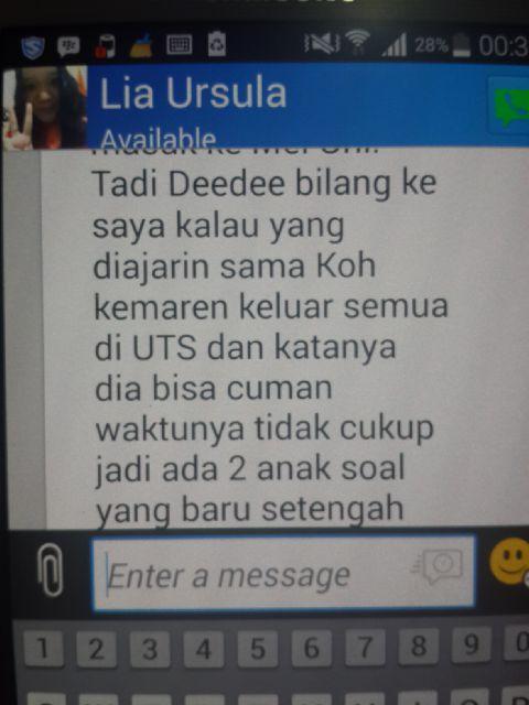 Testimony Ibunda Deedee yang menyatakan yang diajari di Bimbingan Belajar Akong, keluar semua di Mid Test Deedee di UI International
